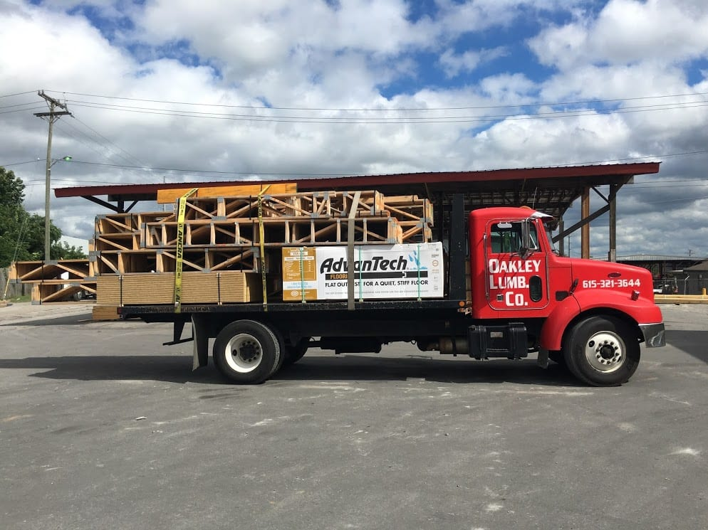 Oakley Lumber Company truck, find wood lumber in Nashville, TN at our Nashville lumber yard, we offer building supplies and materials, call today.